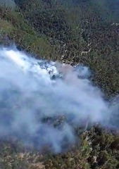 Aerial shot of the Tortolita Fire near Nogal New Mexico on June 7. Fire crews are still on scene fighting the five-acre-plus fire as of June 8.