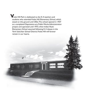 The proposed plaque for the former Violet Hill Elementary School to be placed on a free standing monument at Violet Hill Park.