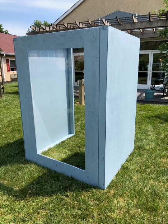 "Senior care facilities are building portable outdoor  ""visitation stations"" to create more intimate meetings with residents and their loved ones. This one, made of wood and Plexiglass, will be used at the Autumn House personal care facility on East Market Street in Springettsbury Township."