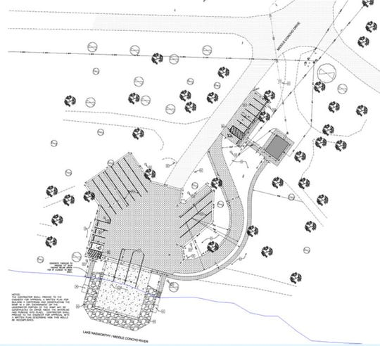 A drawing of planned improvements to Middle Concho Park submitted to San Angelo City Council Members during their regularly scheduled meeting , June 2, 2020.