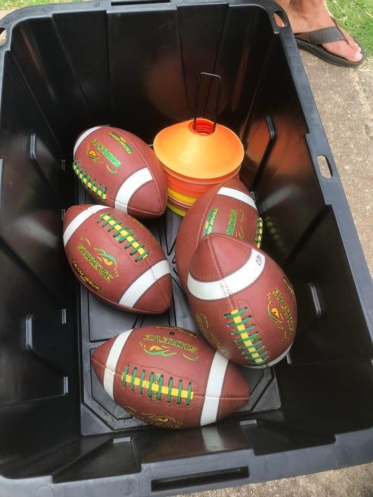 Sanitized Captain Shreve Gator footballs.