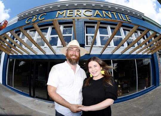 Derek and Lauren Simmons at C & C Mercantile's new location on Texas Ave.