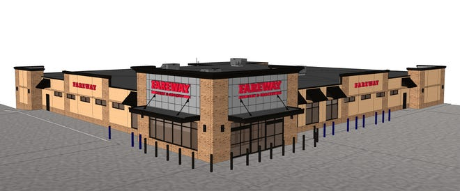 A rendering of the Fareway grocery store planned for Westown Marketplace near 41st Street and Ellis Road