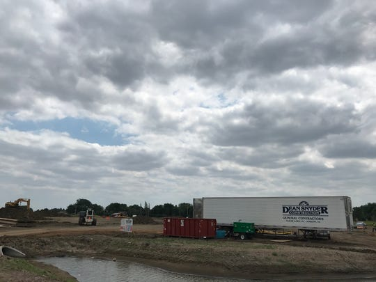 Crews work on the site of the future commercial development of Westown Marketplace, where Fareway is building its new Sioux Falls grocery store.