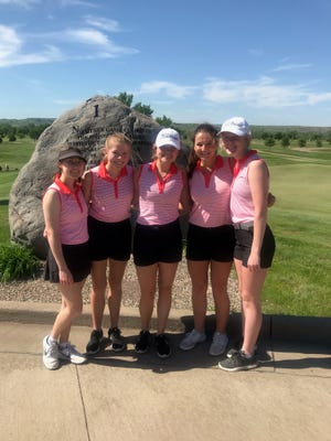 The five senior Brandon Valley golfers who were able to compete at the South Dakota High School Senior Showcase in Pierre on June 1 are left-to-right: Jessica Krogman, Kate Livingston, Abby Erkonen, Jenna Long and Tanna Lehfeldt.