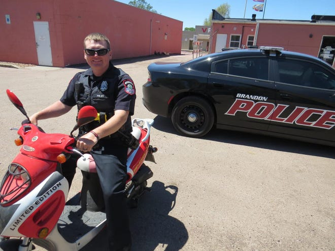 A Facebook post featuring officer Tyler Carda appeared on May 29 to alert Brandon residents to the laws associated with moped use this summer.