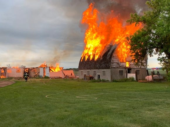 Two barns burned Saturday, June 6, 2020, on a Maine Prairie Township property. One was set intentionally on fire, because it was considered unsafe, according to the Stearns County Sheriff's Office.