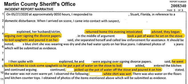 Excerpt from Martin County Sheriff's report