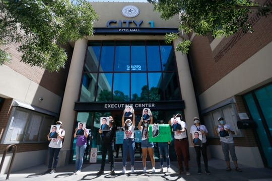 The Border Network for Human Rights holds a community protest on Monday, June 8, 2020, at El Paso City Hall demanding justice in the police-related deaths of Erik Salas-Sanchez in El Paso and George Floyd in Minneapolis.