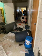 The Altus, Okla., Police Department posted photos of damage suffered at the Altus Immediate School after three juveniles -- the youngest 6 years old -- are accused of causing $50,000 in damage. The juveniles, accused of pouring paint on floors and walls and damaging interior walls and doors, were released to the custody of their parents.