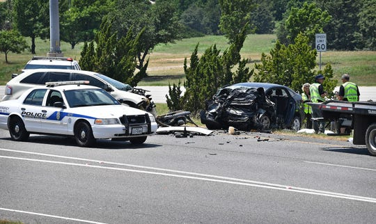 Wichita Falls Police and first responders workthe scene of a wrong-way fatality accident the afternoon of June 8 on southbound U.S. Highway 287 just before Windthorst Road as shown in this June 8, 2020 file photo. The driver of a black Ford Festiva died at the scene.