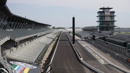 The Indianapolis Motor Speedway is empty on May 24. The Indianapolis 500 was postponed because of the coronavirus pandemic.