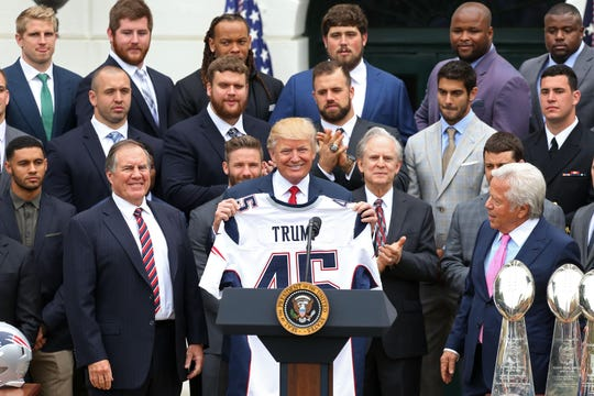 President Donald Trump during a ceremony celebrating the Super Bowl LI champion New England Patriots in 2017.