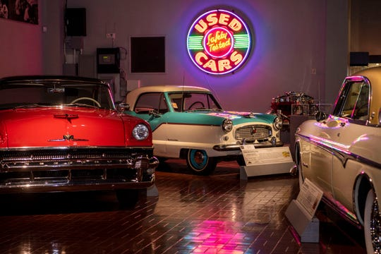 Cars from the 1950s are on display at Gilmore Car Museum on Monday, June 8, 2020 in Hickory Corners, Mich. The 90-acre historical attraction, typically open year-round, is reopening to the public on Friday after closing under the executive order.