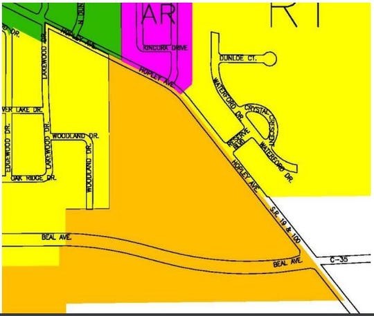 The area in orange depicts the parcels near the intersection of Hopley and Beal avenues that could be rezoned from residential to general business.