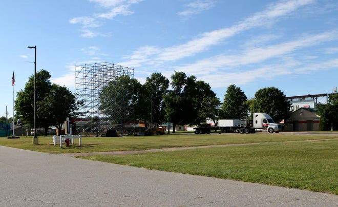Higher Ground is erecting a stage and screen at the Champlain Valley Exposition to accommodate events presented in a drive-in format.