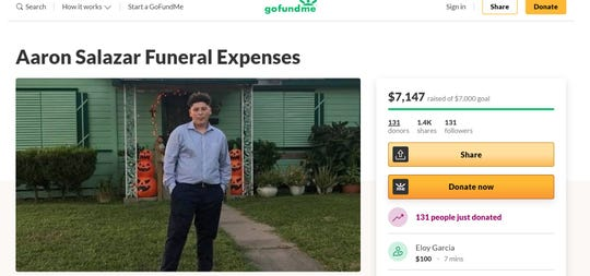 A GoFundMe page was created to pay for Aaron Salazar's funeral expenses. Family identified Salazar as the 17-year-old who was fatally shot outside at Villa and Leigh drives on June 7, 2020.