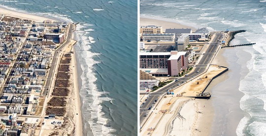 Before photo (left) and after North Wildwood beach dune removal that led the state Department of Environmental Protection to issue a stop work order and notices for lack of review and state permitting.  Right photo shows flat sand, a sea wall and Sunset Pier (top right)  with a restaurant and shops.