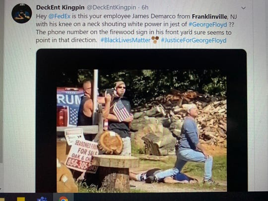 Video of men along the Black Lives Matter march route in Franklinville, New Jersey has gone viral after allegedly reenacting the police-involved death of George Floyd. This is a screen shot from the viral video circulating on Twitter and other social media.