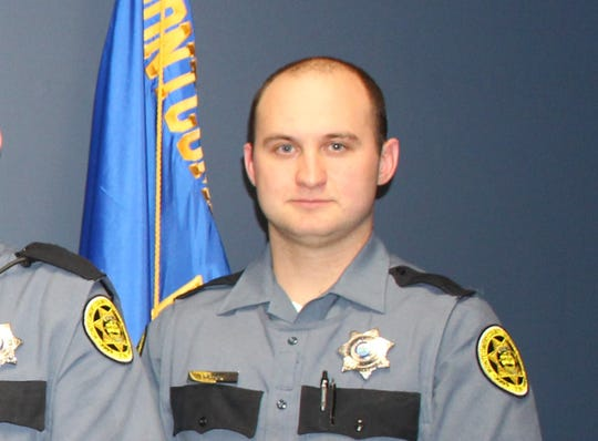 Montgomery County Sheriff's Deputy Joshua Wilson, upon graduation from the East Tennessee Regional Law Enforcement Academy in Greenville, Tennessee, in April 2019.
