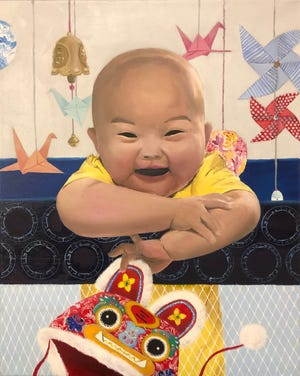 2020 Congressional Art Competition. First place: Gloria Liu of Skillman, Keke Studio of Belle Meade, An Innocent Smile