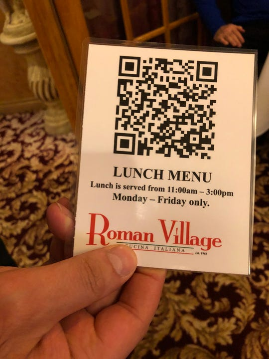 Roman Village now offers its menus as QR codes for ordering.