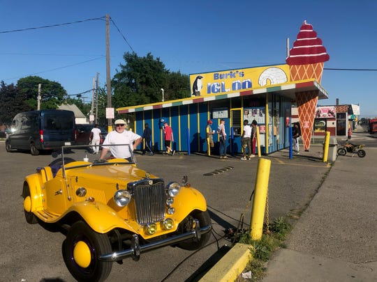 Roger Thompson of Sterling Heights stopped for ice cream at Burk's Igloo with this 1936 Roadster.