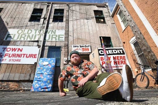 Actor Paul Walter Hauser, behind the Old Town Furniture store, in hometown Saginaw, Michigan on June 9, 2020.