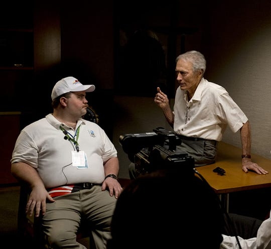 "Paul Walter Hauser and Clint Eastwood on the set of ""Richard Jewell."""