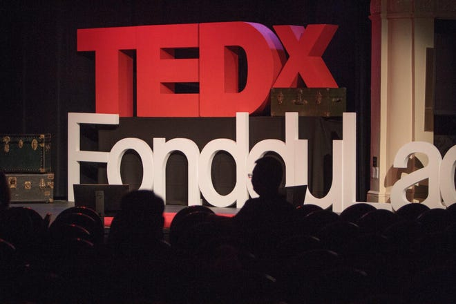 The stage at Thelma Sadoff Center for the Arts prior to the start of the TEDxFondduLac event in 2019.