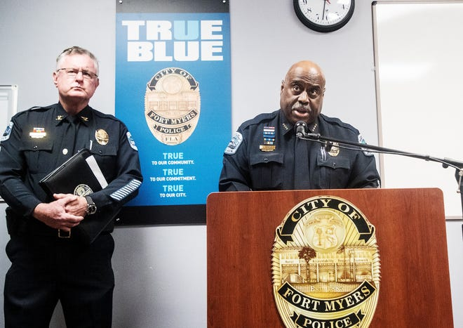 Fort Myers Police Chief Derrick Diggs held a press conference announcing the arrest of Fort Myers police officer Tyler Williams on Tuesday, June 9, 2020. Williams was arrested for failure to report suspected child abuse.