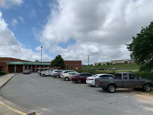 The Mauldin Middle School parking lot is full as more than 110 voters have come as of 10:30 a.m. on June 9, 2020.