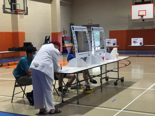 Clemson Elementary, where three polling precincts in Clemson have been consolidated into one, June 9, 2020.   Turnout was slower than usual, but absentee voting higher than normal, poll workers at the precincts said.