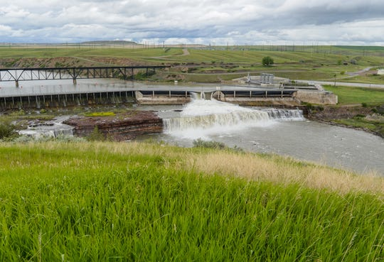 The Missouri River flows through a small section of Rainbow Dam on Monday, June 8, 2020.