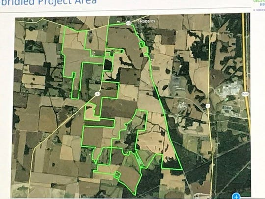 A picture of the area which would encompass the Unbridled solar project in Henderson and Webster counties.