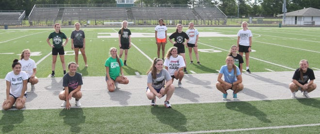 The Madison Lady Rams soccer team posed for a picture after completing a conditioning test on Tuesday morning at STARTEK Stadium. The Lady Rams are preparing for a run at a Division II state championship while abiding by coronavirus restrictions.