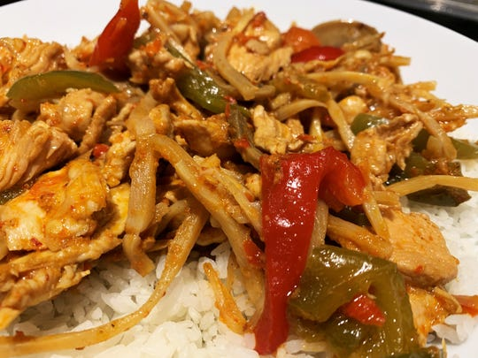 The spicy chicken from Sushi Siam, Miami.