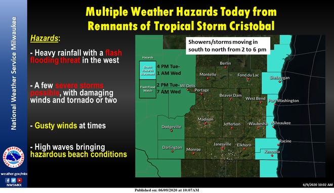 Remnants of Tropical Storm Cristobal are expected to bring heavy rainfall, gusty winds and high waves on Lake Michigan. Credit: National Weather Service