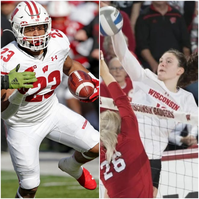 Jonathan Taylor and Dana Rettke were Wisconsin's Athletes of the Year in 2020.