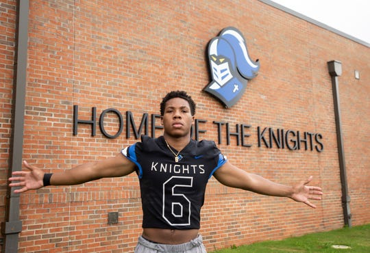 Catholic's TJ Dudley poses for a portrait at Montgomery Catholic High School in Montgomery, Ala., on Monday, June 8, 2020.