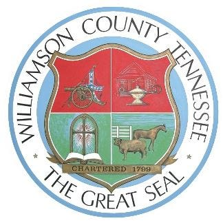 The Williamson County seal depicts a Confederate flag in the top left hand corner.