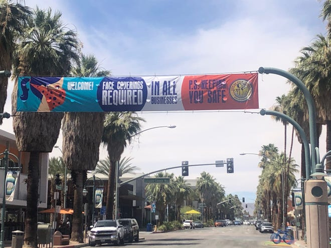 The city of Palm Springs on June 8  hung a banner along Palm Canyon Drive to remind people that face masks are required after receiving complaints that many people were not following the new rule.