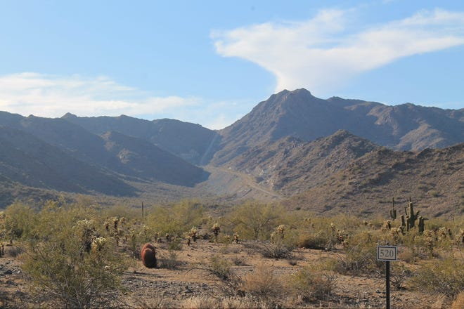 """The """"Scar,"""" a private dirt road in the southeast of the White Tank Mountains."""