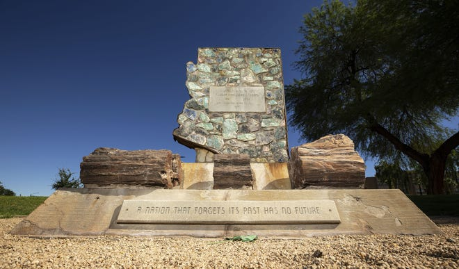 A stone monument to the Confederate troops at Wesley Bolin Plaza near the Arizona State Capitol in Phoenix on June 9, 2020.