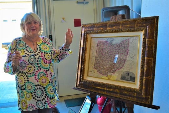 Patrice Kihlken talks about the original 1864 Ohio map she framed and place for sale through her business, Modern Vintage. Kihlken normally sells her work at local art festivals in the summer, but since those have been canceled, she has been posting her work on the GPAAC Viral Art Show.