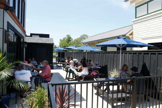 Diners having lunch at Heritage Food & Drink in the Town of Wappinger on June 9, 2020.