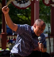 PA Democratic State Committee Member Cole Goodman gives a speech during a protest for George Floyd and other victims of police brutality at the King Street Gazebo in Shippensburg on Tuesday, June 9, 2020.
