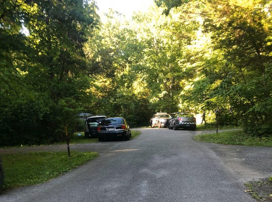 This photo, taken by Lisa Barshinger, shows Pennsylvania State Police vehicles at Gifford Pinchot State Park in Warrington Township on Monday, where one woman was pronounced dead and the other hospitalized.