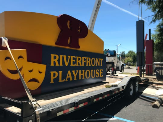 The new sign will top the arch that welcomes people to the new theater in downtown Redding.