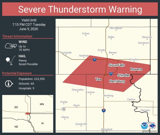 Sioux Falls is under a severe thunderstorm warning Tuesday night.
